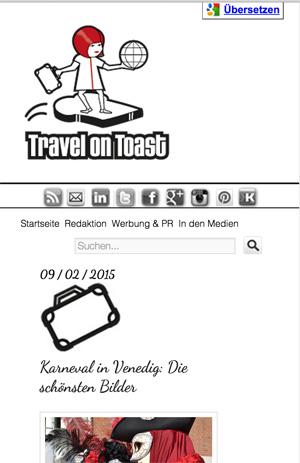 Mobiles Menü bei Travel on Toast