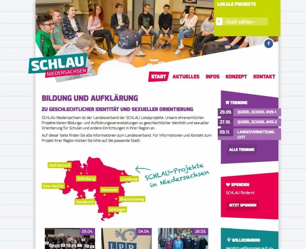 Schlau e.V. Landesnetzwerk-Website